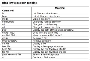 bảng tóm tắt các lệnh căn bản