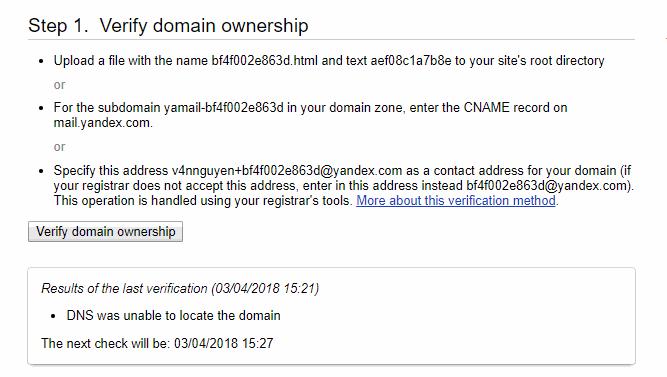 xác thực domain