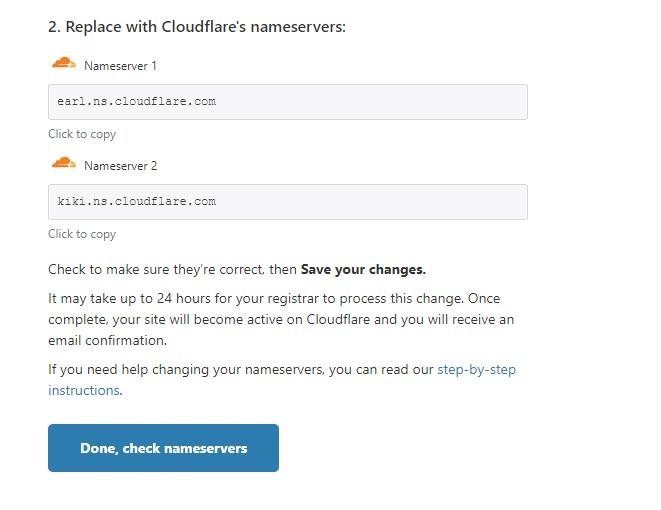 Trỏ cặp nameservers về Cloudflare