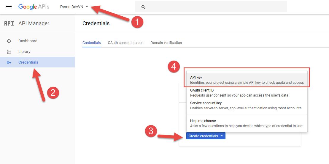 Khởi tạo Google Maps API để chèn vào Website