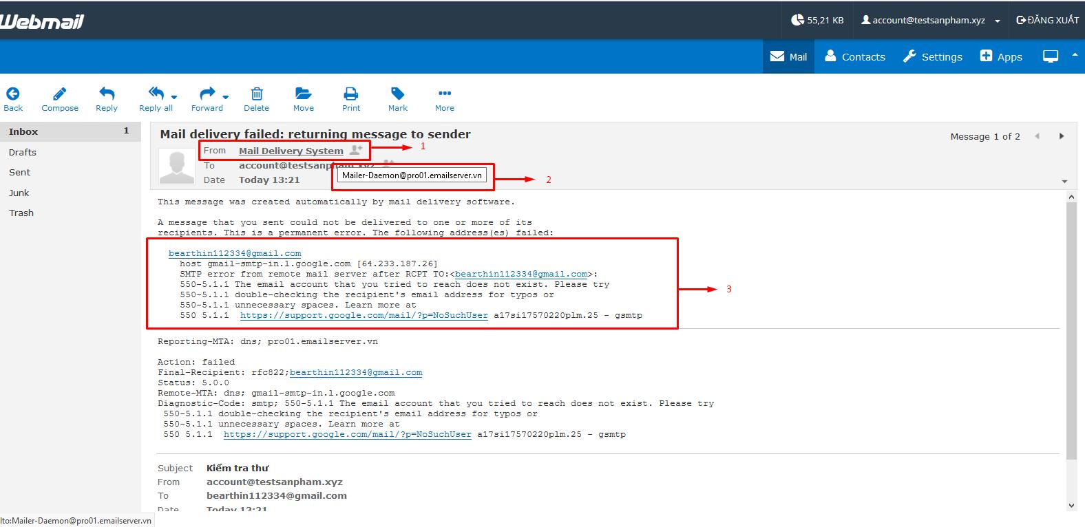 Những mã lỗi email thường gặp