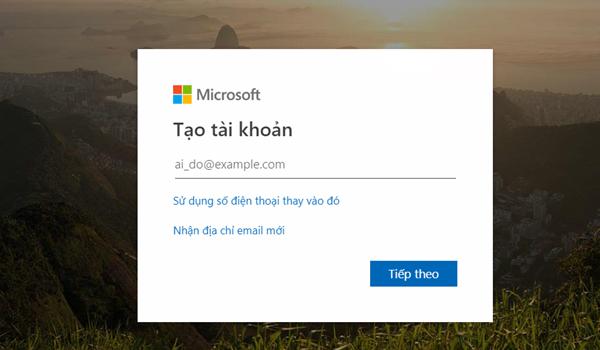 Nhập tên địa chỉ email Outlook muốn tạo