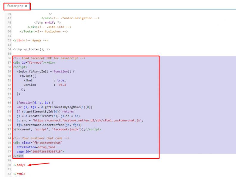 cách chèn mã Script Chat Facebook vào Website