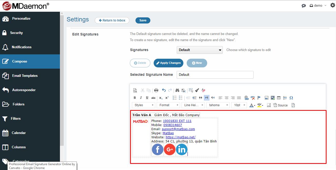 Hướng dẫn cấu hình chữ ký trên Email for Business bằng Canvato