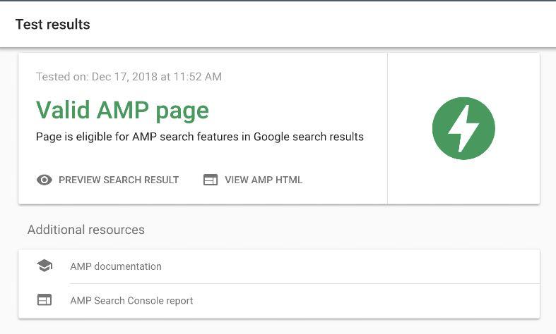 Nếu trang của bạn đáp ứng các tiêu chí AMP, bạn sẽ nhận được thông báo này