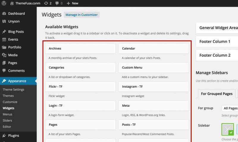 Trong WordPress có nhiều Widget mặc định được tạo sẵn