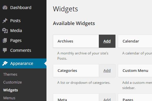 Một cách khác để bạn có thể thêm widget vào sidebar là ngay tại chính trang quản lý widget