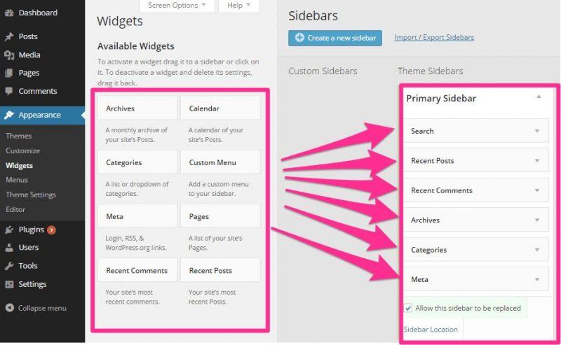Cách đơn giản nhất là kéo và thả widget vào sidebar