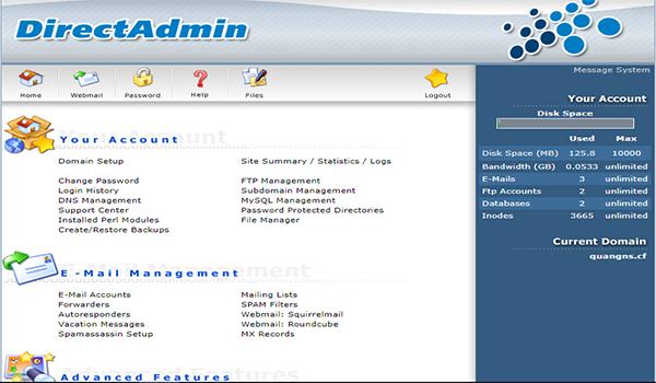 DirectAdmin được nhiều người yêu thích bởi những tính năng riêng biệt mà không phần mềm nào có được