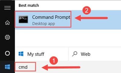 Bước 1: Vào Start, tìm RUN sau đó bạn gõ CMD để vào trình command line.