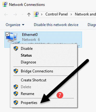 """Bước 2: Click chuột phải vào mạng mà máy đang dùng. Chọn """"Properties""""."""