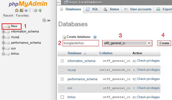 Tạo cơ sở dữ liệu mới trong PHPMyAdmin