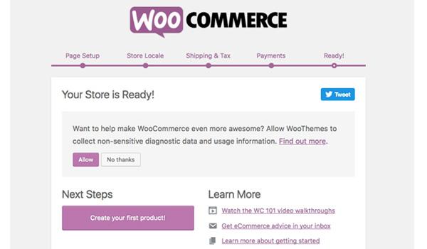 Khi hoàn tất, nhấn Create your first product để bắt đầu sử dụng WooCommerce