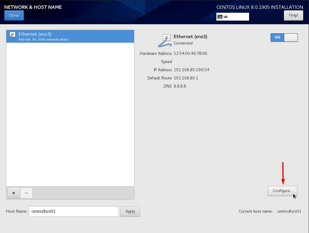 Chọn mục Configure để cấu hình card mạng ở chế độ start cùng OS.