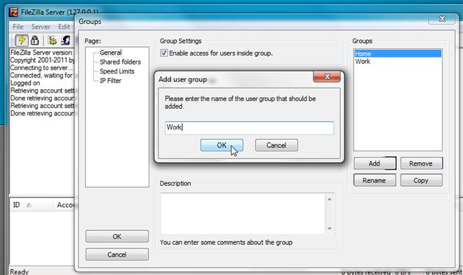 FileZilla là gì? Group settings