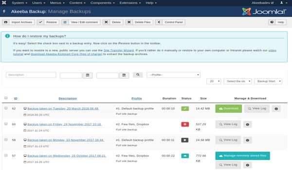 Joomla là gì? Giao diện thực hiện Backup trên Joomla