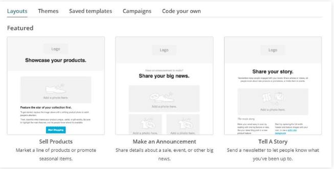 Nhấn vào nút Next Step sau khi bạn đã sẵn sàng bạn sẽ có thể chọn mẫu email. Tại đây bạn sẽ thấy có rất nhiều lựa chọn: