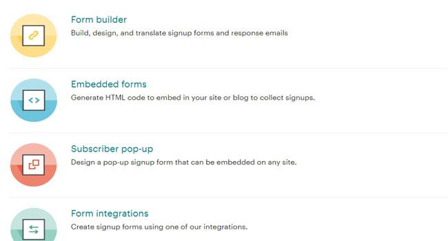 MailChimp mang đến nhiều tính năng tùy chỉnh form đăng ký