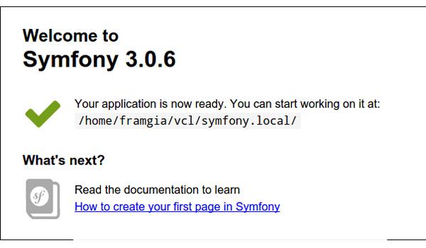 Symfony là gì? Kết quả khi chạy ứng dụng trên trình duyệt theo đường dẫn http://localhost:8000/