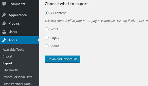 WordPress Importer là gì Giao diện chọn dữ liệu muốn export