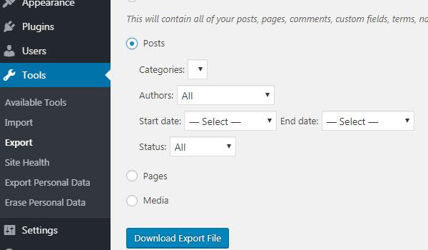WordPress Importer là gì Nhấn Download Export File để tải dữ liệu muốn chuyển xuống