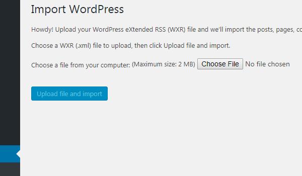 WordPress Importer là gì Nhấn Upload file and import để tải dữ liệu lên