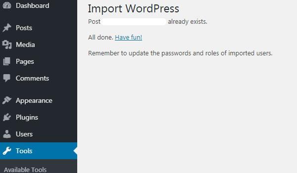 WordPress Importer là gì Màn hình thông báo quá trình import thành công và dữ liệu đã được tải lên web mới