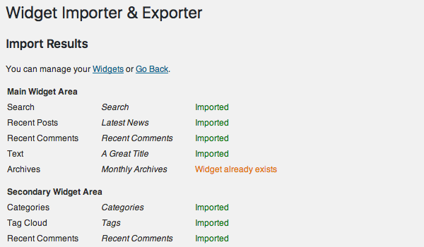 Widget Importer & Exporter là gì?