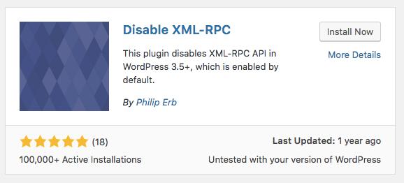 XMLRPC là gì? Tìm plugin Disable XML-RPC và cài đặt plugin như hình.