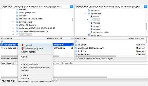 Giao diện phần mềm hiển thị 2 cửa sổ: Local site và Remote site