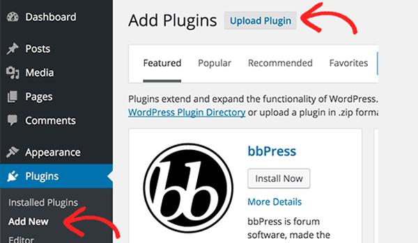 Nhấn vào nút Upload Plugin để tải file lên WordPress