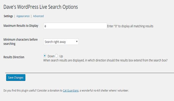 Trang cài đặt của Dave's WordPress Live Search