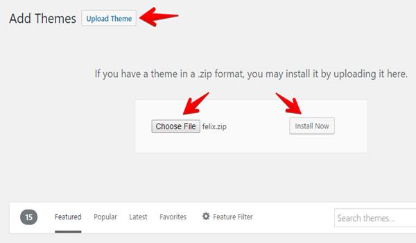 Cách cài theme wordpress Bước 3: Sau khi tải xong tệp, nhấp vào Install Now để tiến hành upload và cài đặt theme.