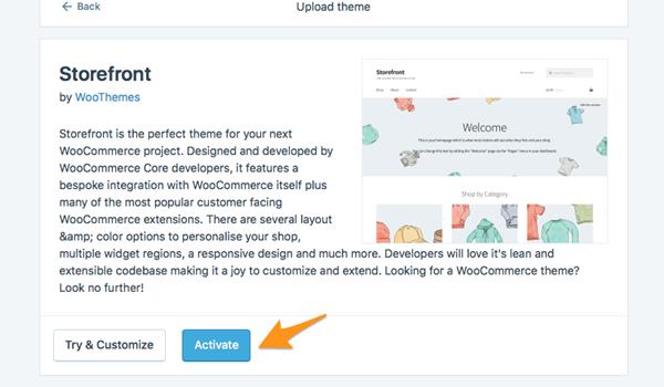 Cách cài theme WordPress Bước 4: Sau khì cài đặt file xong, nhấp vào Activate để kích hoạt theme.