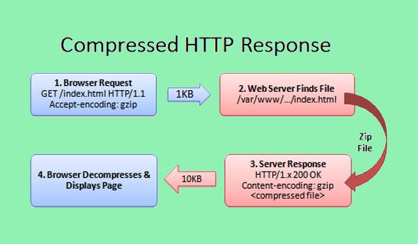 Gzip hoạt động dựa trên sự tương tác giữa server và trình duyệt