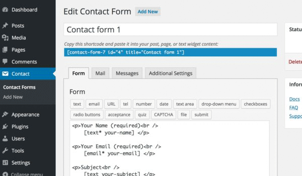 plugin wordpress tốt nhất Giao diện edit contact form của plugin Contact Form 7