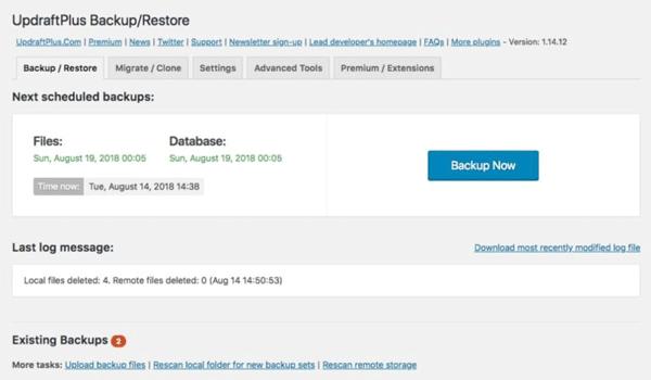 Backup dữ liệu dễ dàng với UpdraftPlus WordPress Backup Plugin