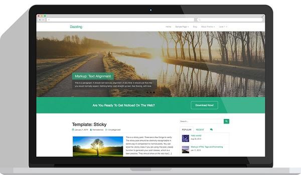 Dazzling có thể phục vụ mọi mục đích lập website và cũng là một theme hoàn toàn miễn phí