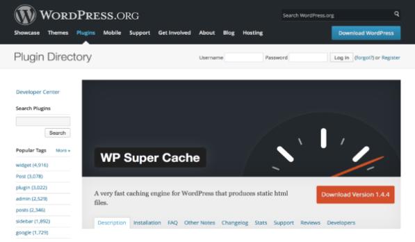 Plugin WordPress miễn phí - Cải thiện tốc độ trang web nhanh chóng nhờ WP Super Cache