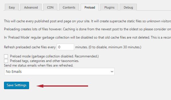 WP Super Cache là gì? Thiết lập tab Preload WP Super Cache