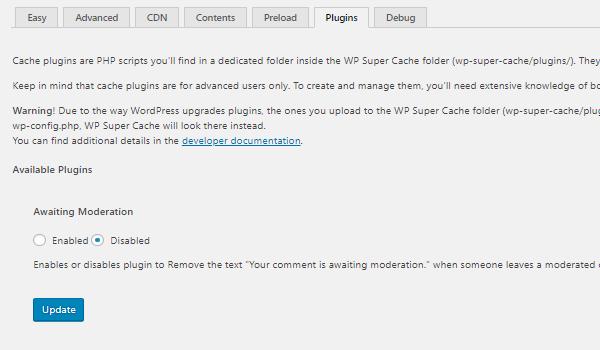 Plugin WP Super Cache là gì? Thiết lập tab Plugin WP Super Cache