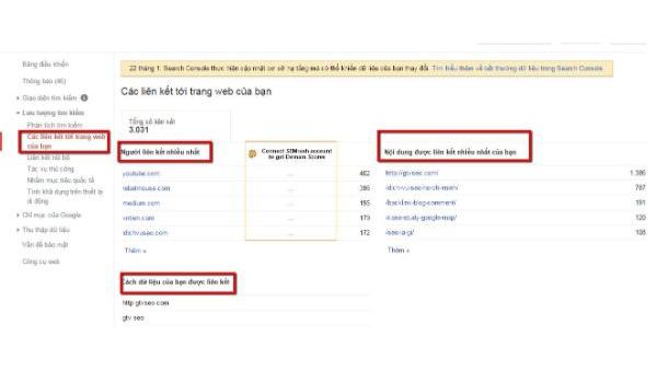 Người dùng có thể kiểm tra các liên kết tới trang web của mình tại Links to your site