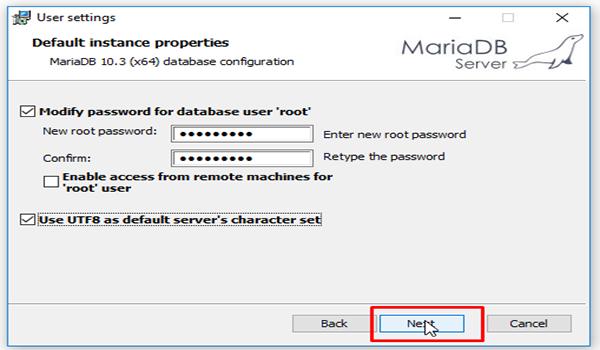 MariaDB là gì? Bước 5: Nhập mật khẩu cho tài khoản root và nhấn Next