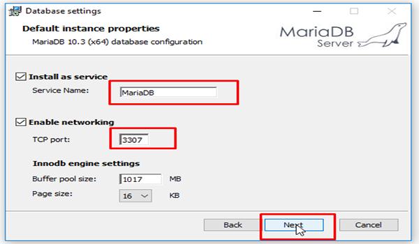 MariaDB là gì? Bước 6: Đặt tên cho service, service name là MySQL và TCP port là 3306