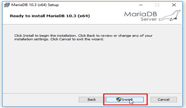 MariaDB là gì? Bước 8: Nhấn vào install để cài đặt