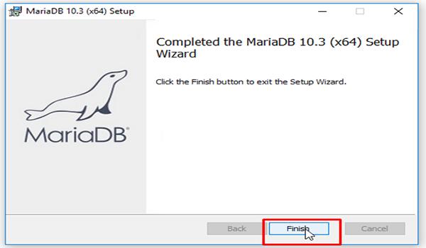 MariaDB là gì? Bước 9: Nhấn finish để kết thúc