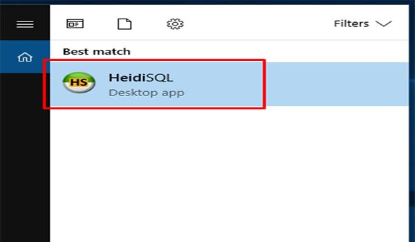 Bước 1: Mở phần mềm HeidiSQL (hoặc MySQL Workbench, SQL Workbench,…) để kết nối tới MariaDB.