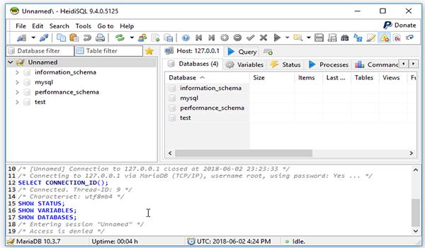 Bước 3: Vậy là đã hoàn thành thao tác mở giao diện của HeidiSQL