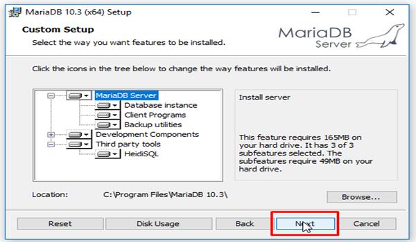 MariaDB là gì? Bước 4: Chọn thư mục cài đặt MariaDB ở mục Browse và nhấn Next