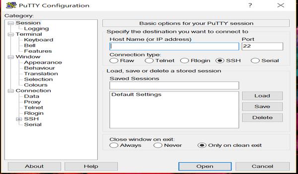 PuTTY là gì? Bạn cần phải nhập thông tin và thông số vào cửa sổ PuTTY Configuration khi vừa mới truy cập phần mềm